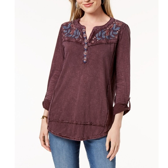 Style & Co Tops - Petite Cotton Embroidered Top